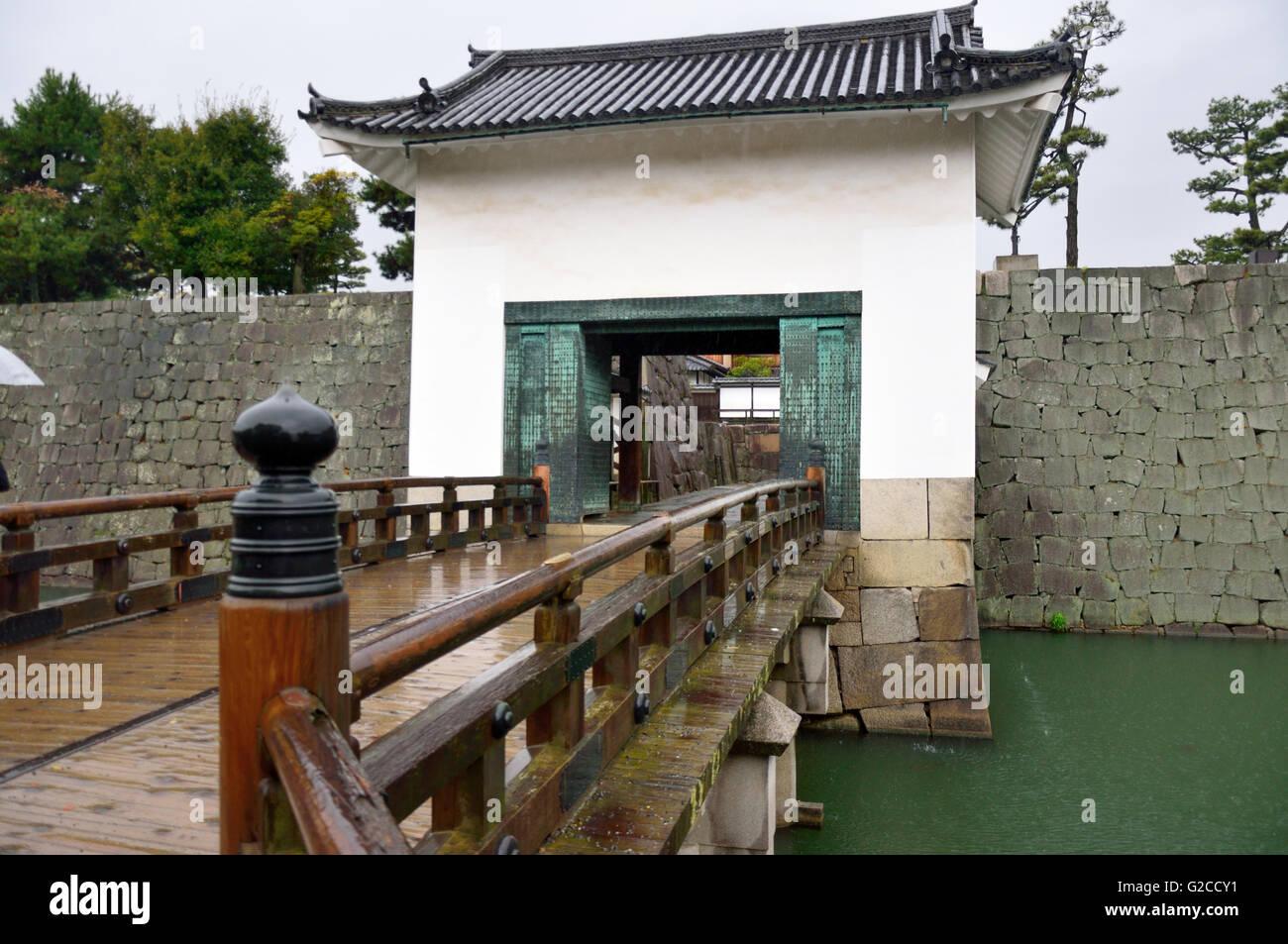 Nijo Castle, Inner Moat & Gate to Honmaru Palace Stock Photo