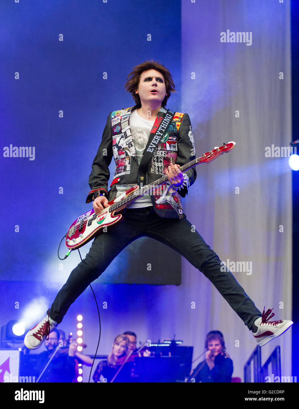 Manic Street Preachers perform at Swansea's Liberty Stadium on May 28th 2016. Photo shows bassist Nicky Wire. - Stock Image