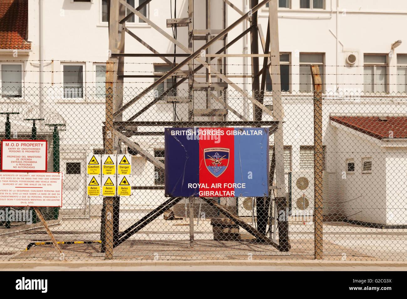 British Forces Gibraltar/RAF Gibraltar premises and sign, Gibraltar Europe Stock Photo