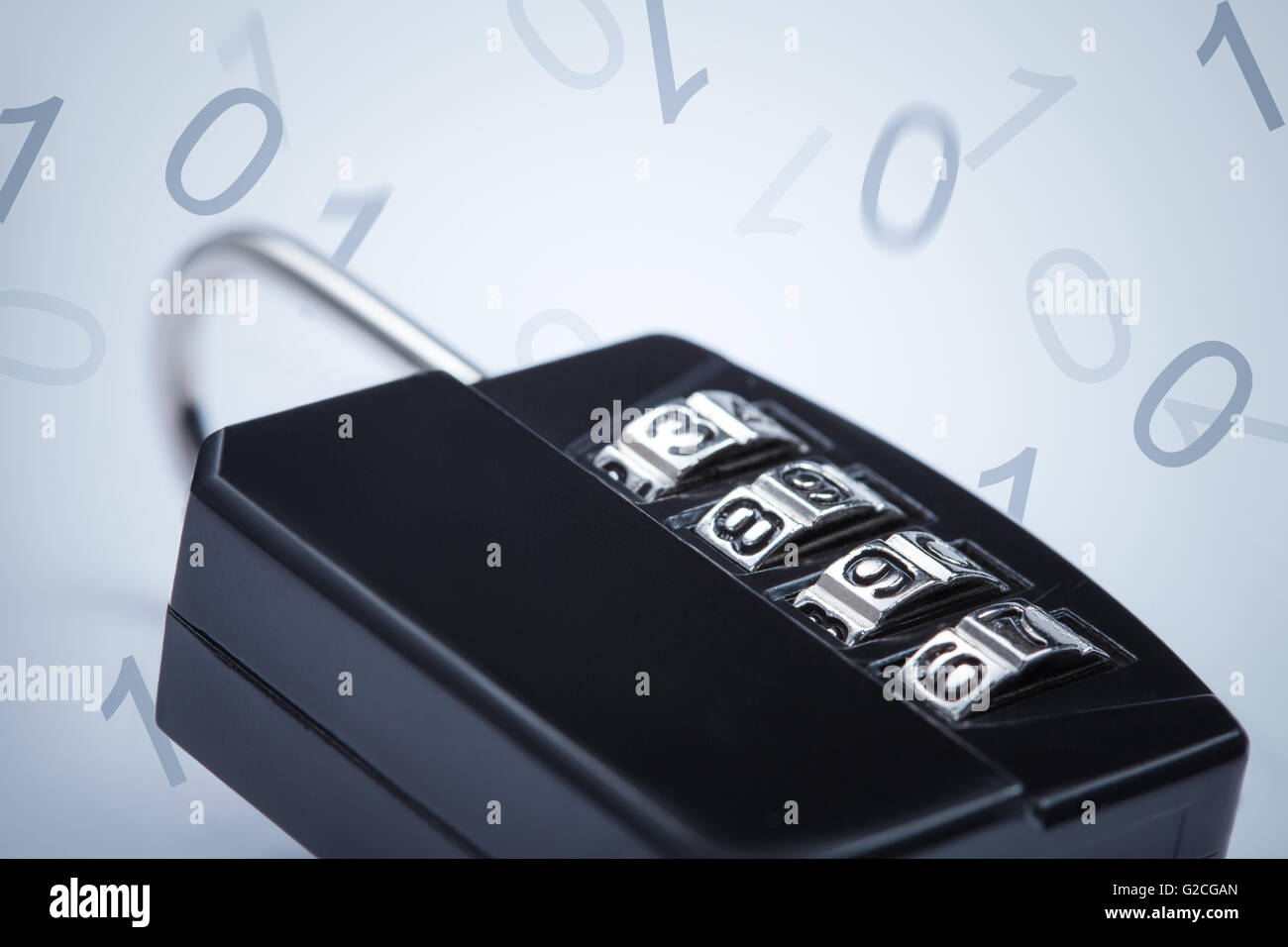 Encryption concept image. Lock on falling numbers background - Stock Image