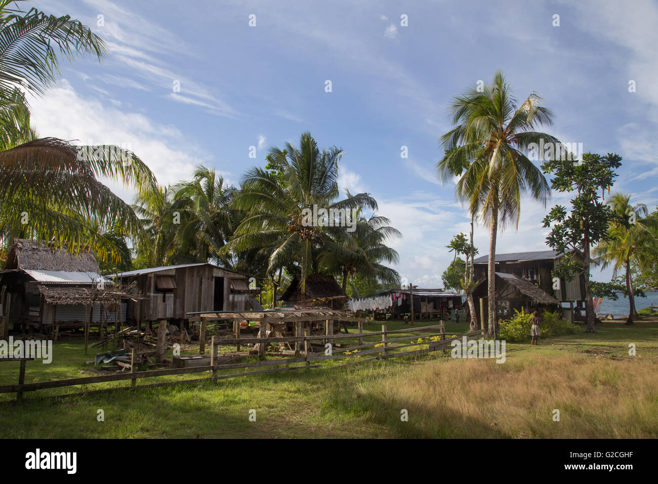 Chea Village, Solomon Islands - June 15, 2015: Local village on the Solomon Islands. - Stock Image