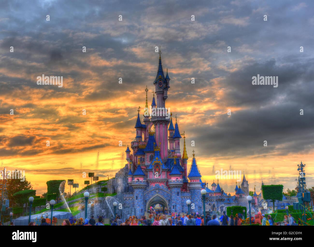 Disneyland Paris at sunset Stock Photo