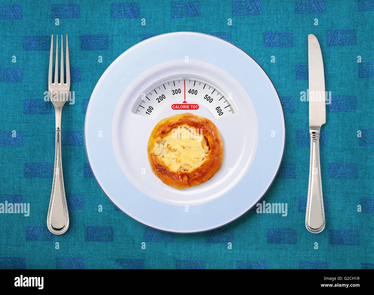 view of calorie tot in pizza that on white plate - Stock Image