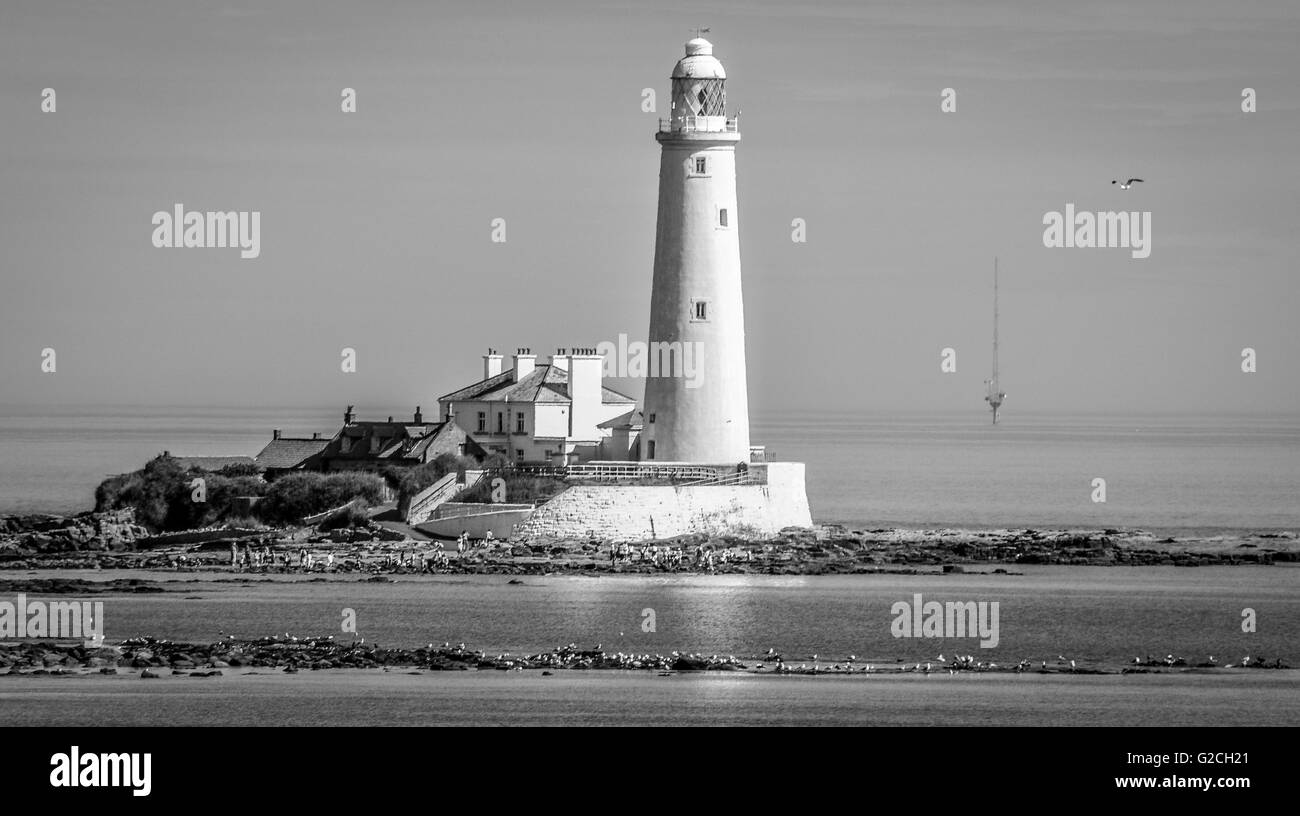 Lighthouse Glow in Mono........... - Stock Image