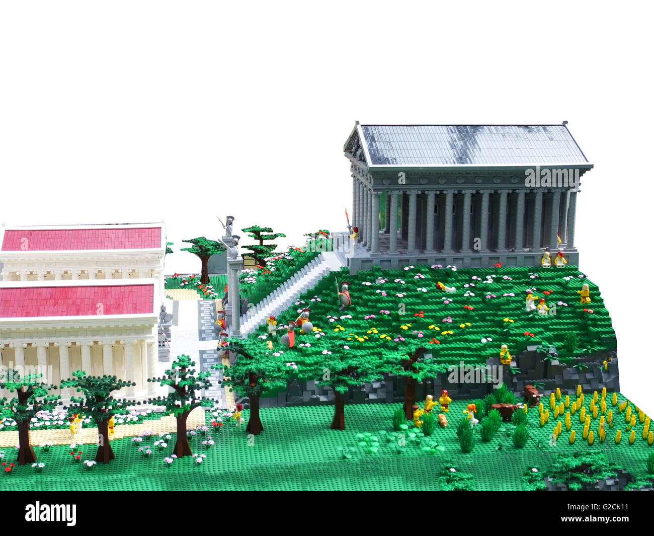 Lego Model build ancient old time day sky toy fun landscape Greece Olympic Mountains Athenaeum Athena - Stock Image