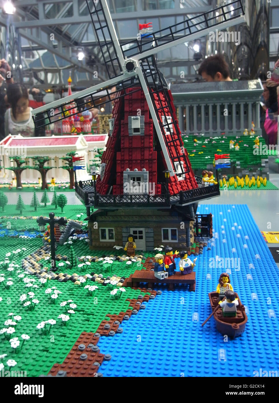 Lego Model build ancient old time day sky toy fun landscape Netherlands Amsterdam windmill grass marry - Stock Image