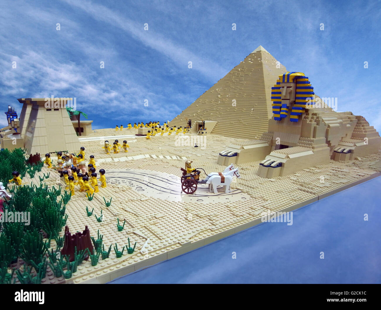 Lego Model Egypt Egyptian build ancient pyramid Sphinx Pharaoh engineering horse slave old time day sky toy fun Stock Photo