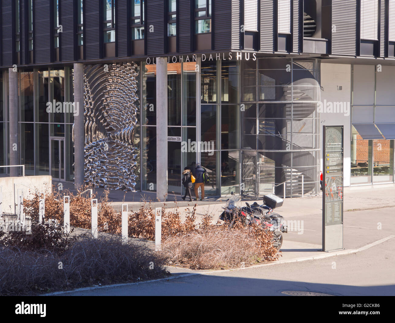 Architecture and  art in Blindern Forskningsparken campus of University of Oslo Norway with modern university buildings Stock Photo