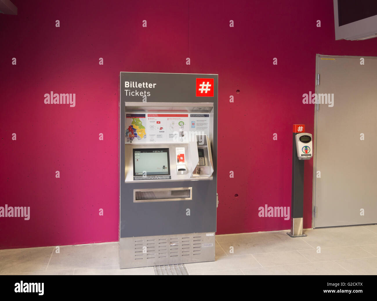 The new Løren metro station in Oslo Norway opened in April 2016 automated ticket machine and validation point - Stock Image