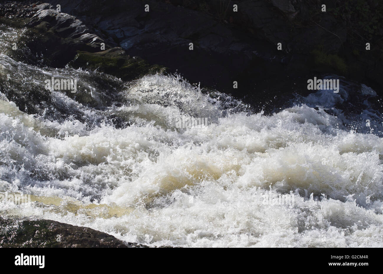 Rapids with rushing clear water in springtime sunlight, Alna river in Oslo Norway - Stock Image