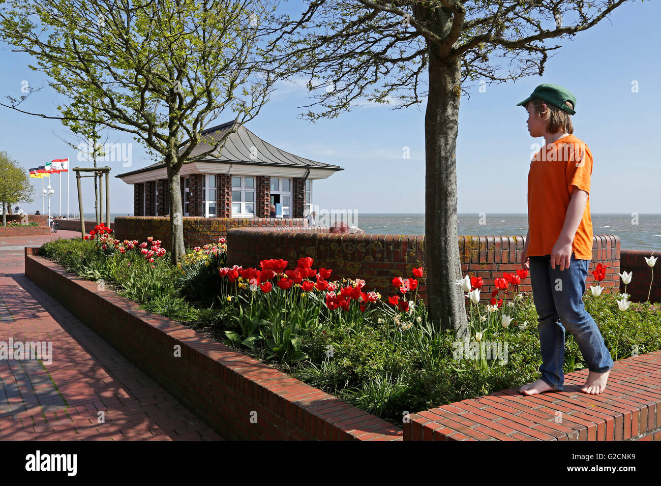 seafront, South Beach, Wilhelmshaven, Lower Saxony, Germany - Stock Image