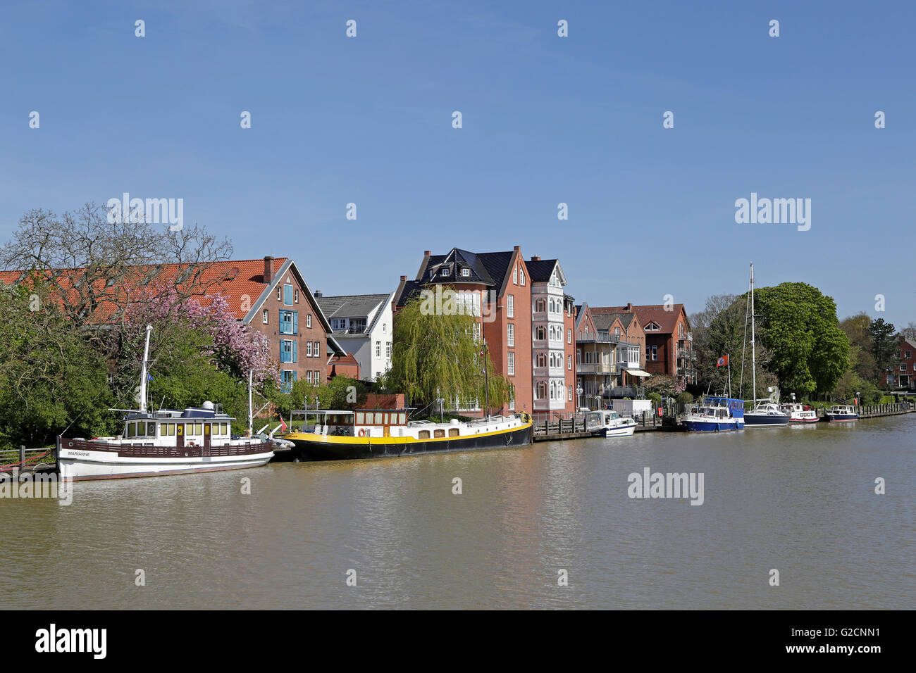 Harbour, Leer, East Friesland, Lower Saxony, Germany - Stock Image