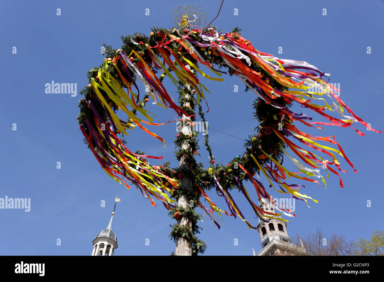 maypole, Leer, East Friesland, Lower Saxony, Germany - Stock Image