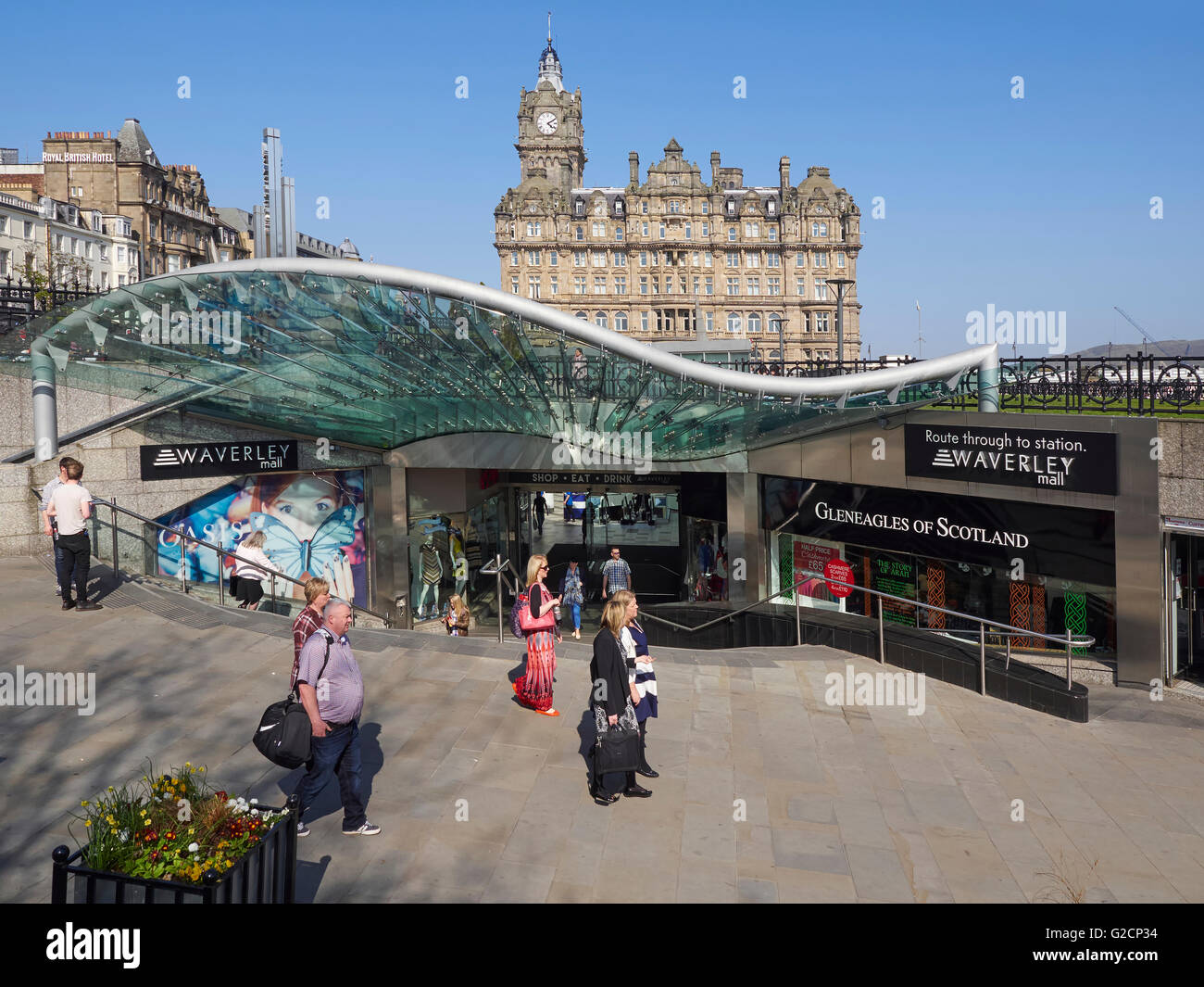 Edinburgh Waverley Mall and Station entrance off Princes Street - Stock Image