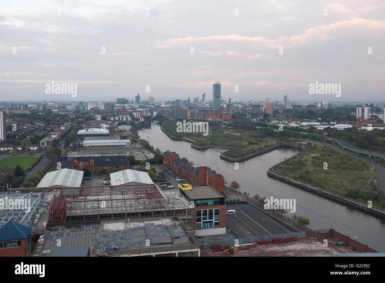 Manchester city centre panoramic skyline - Stock Image