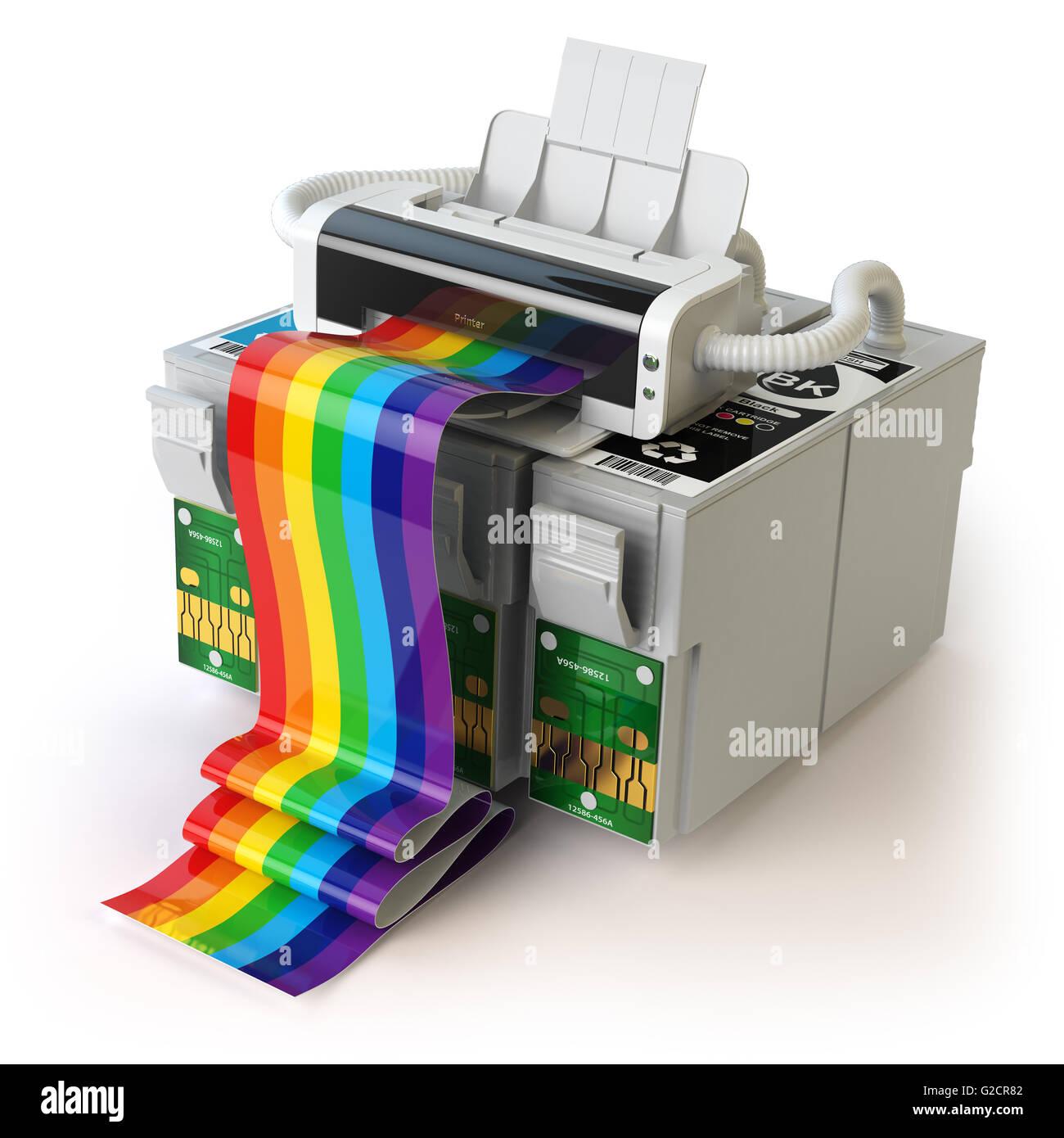 Printer and CMYK cartridges for colour inkjet printer isolated on white. 3d  illustration - Stock Image