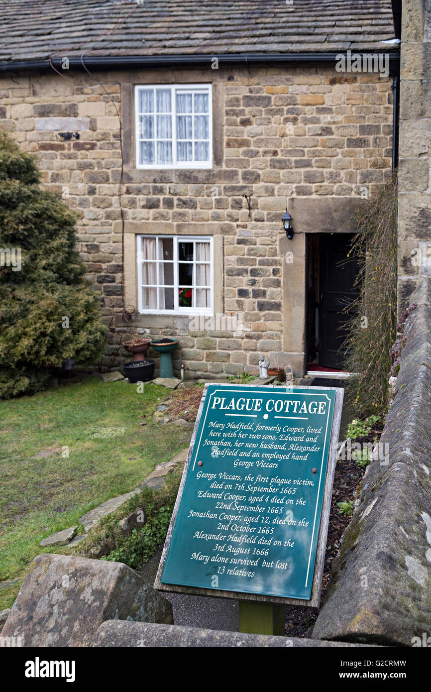 Plague Cottage sign and house, Eyam, Derbyshire, England, UK - Stock Image