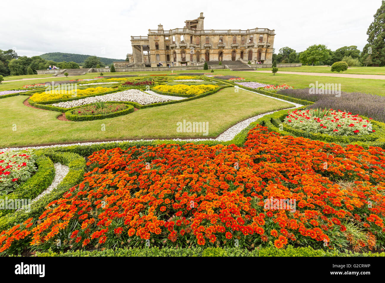 Formal gardens and ruin of Witley Court, Worcestershire, England, UK - Stock Image