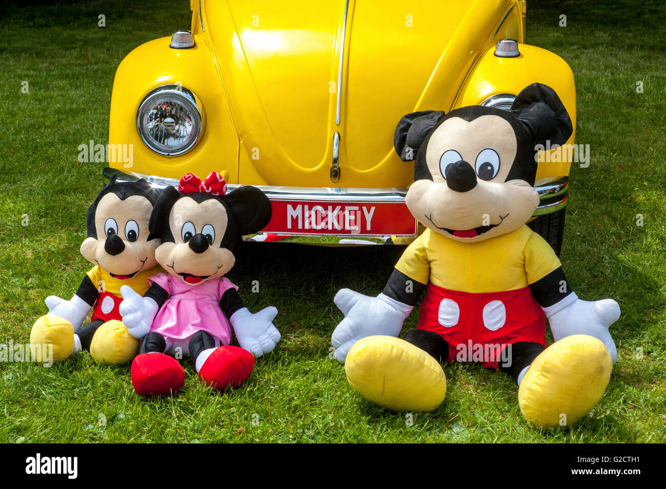 Yellow VW Beetle and Mickey Mouse family - Stock Image