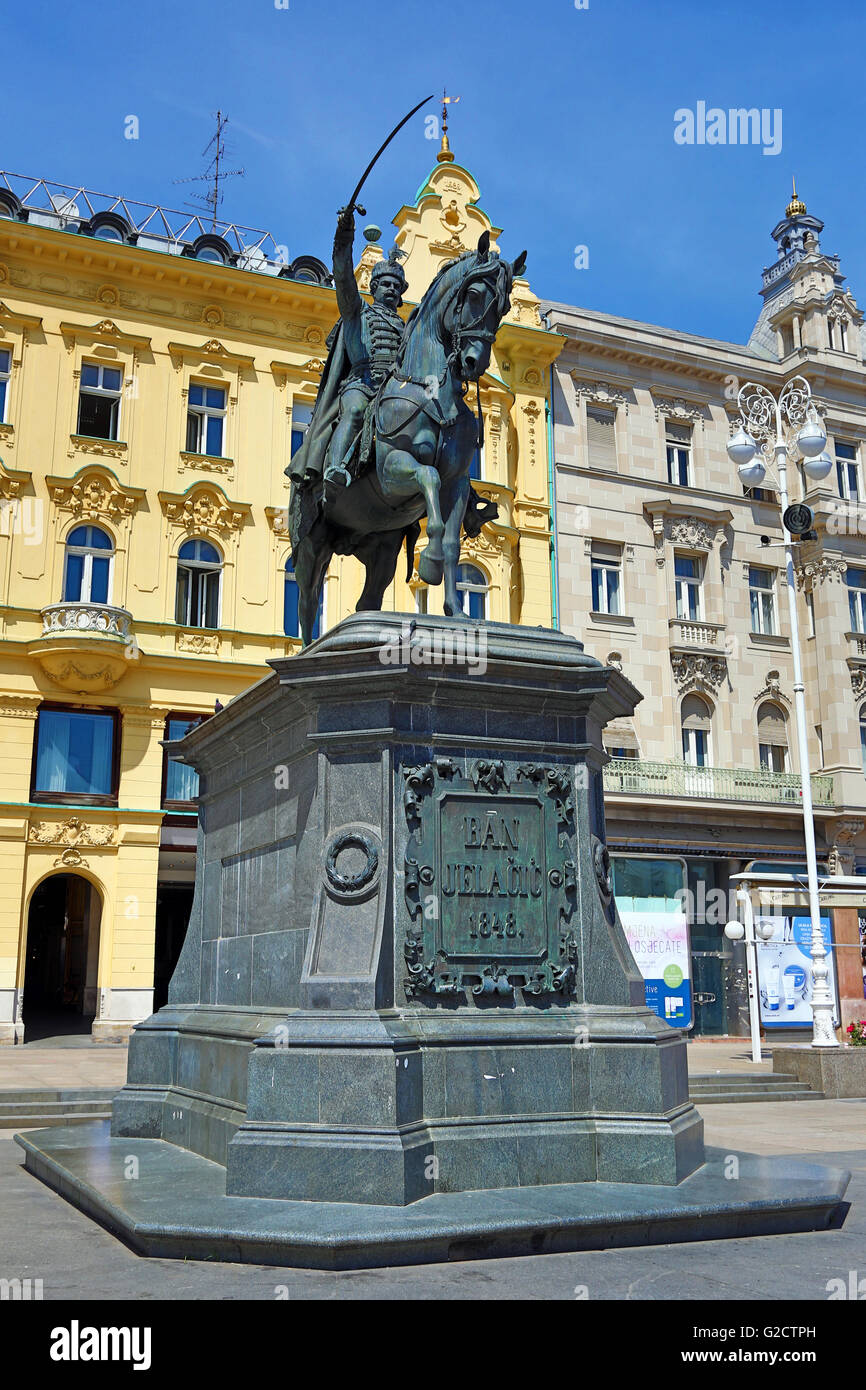 Statue of Ban (Josip) Jelacic riding a horse in Ban Jelacic Square in Zagreb, Croatia Stock Photo