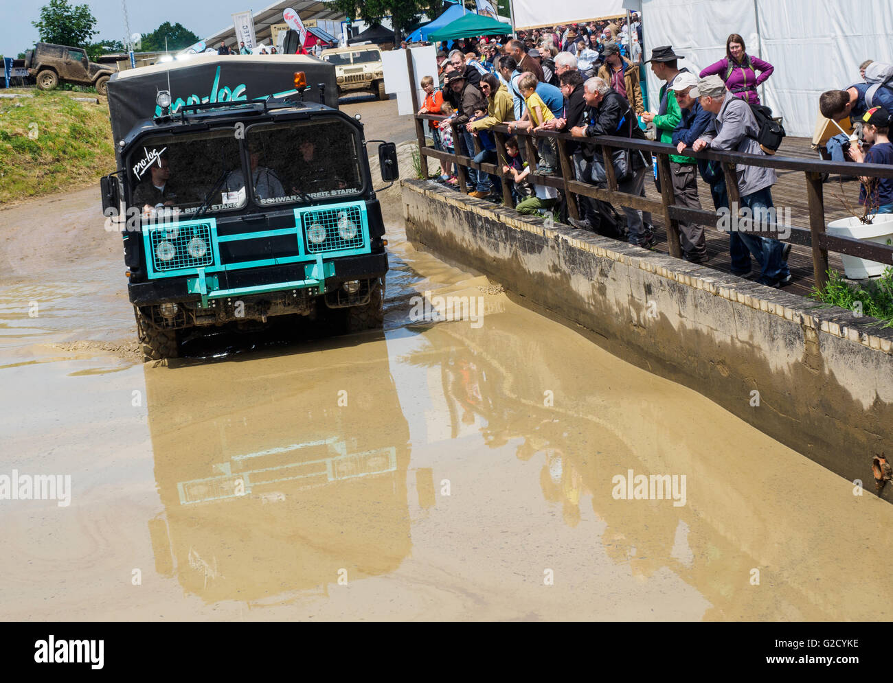 An expedition vehicle based on a MAN vehicle can be seen at the off-road fair in Bad Kissingen, Germany, 27 May - Stock Image