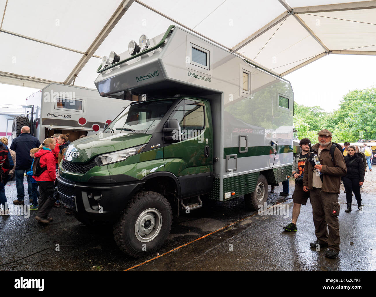 An expedition vehicle based on a Iveco car can be seen at the off-road fair in Bad Kissingen, Germany, 27 May 2016. - Stock Image