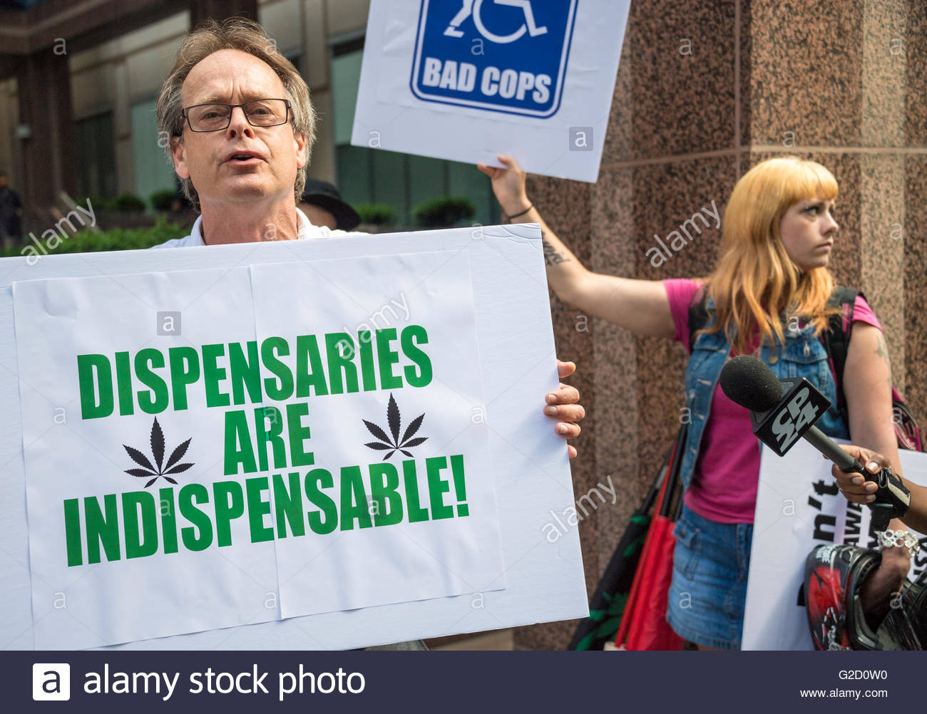 Toronto, Canada, a protest organized by Marc Emery outside the city Police Headquarters against Project Claudia. - Stock Image