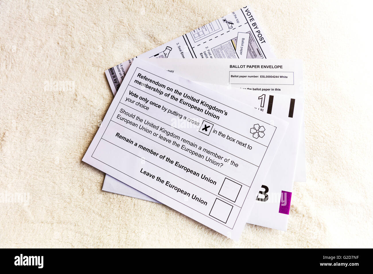 UK postal ballot papers arrive to households in England 28/05/2016 to vote on the referendum on the United Kingdom's - Stock Image