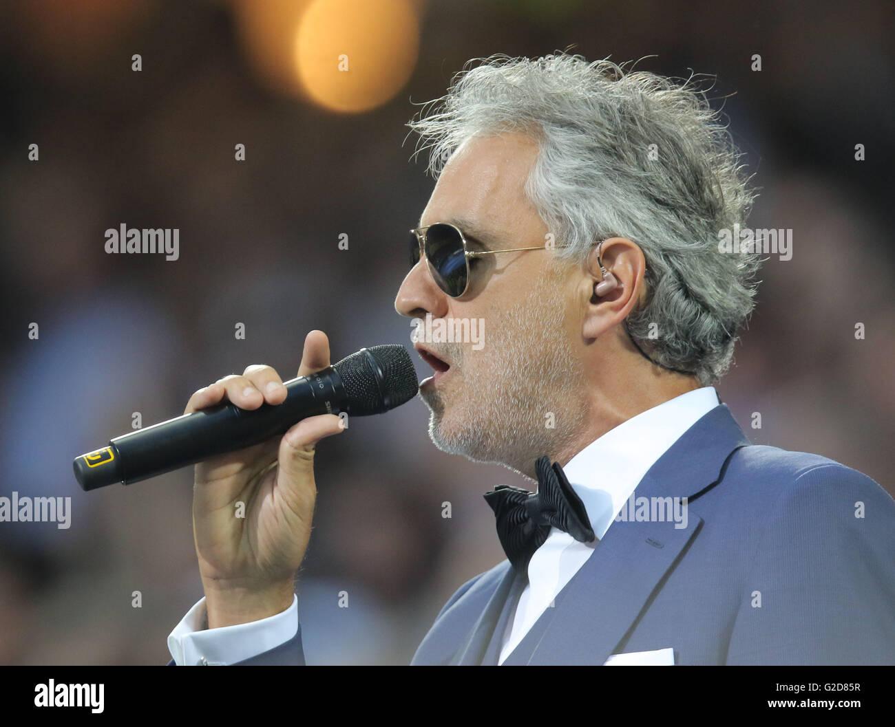 Milan, Italy. 28th May, 2016. Milan, Italy. 28th May, 2016. Andrea Bocelli  REAL MADRID - ATLETICO MADRID  Fussball Stock Photo