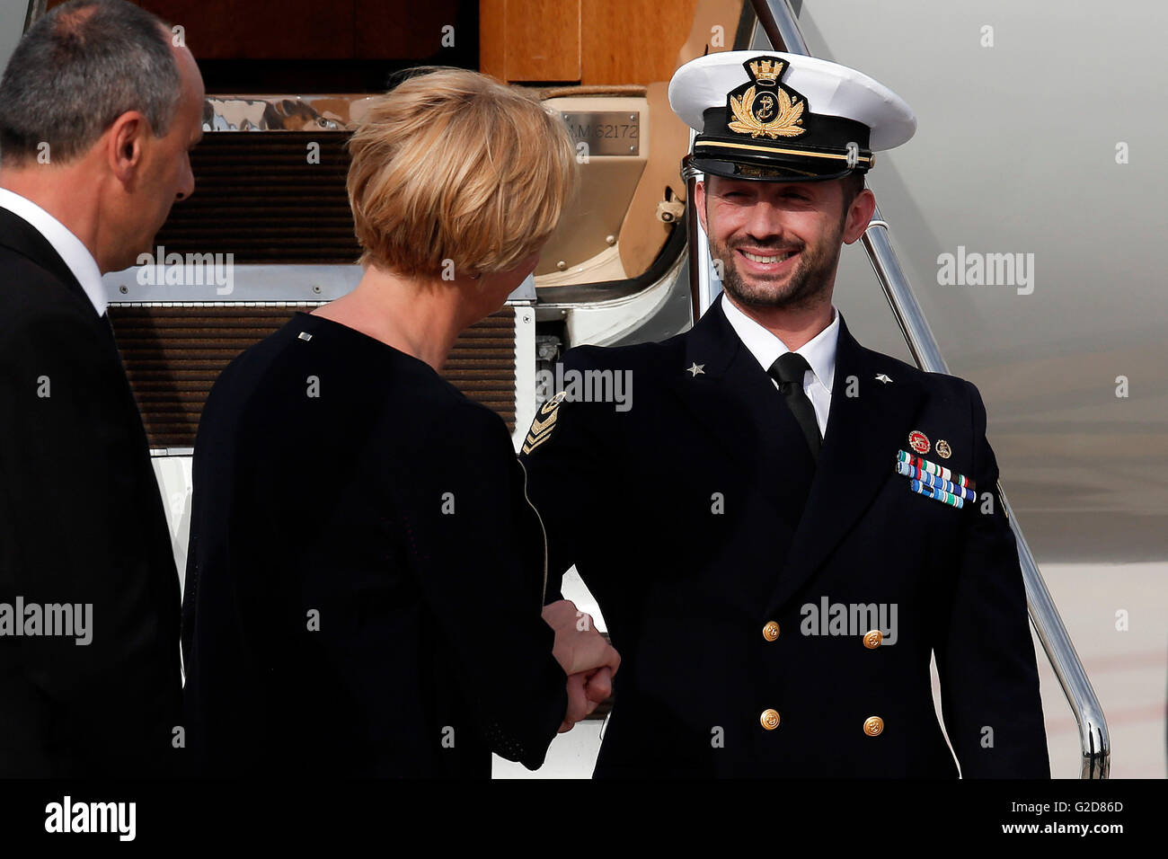 Salvatore Girone and Roberta Pinotti Rome 28th May 2016. Return of Salvatore Girone, the non-comissioned officer - Stock Image