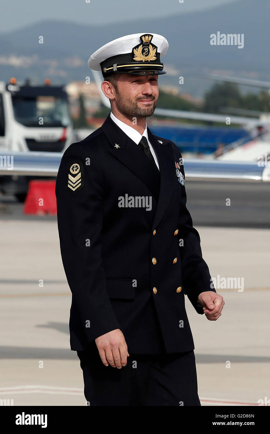 Salvatore Girone Rome 28th May 2016. Return of Salvatore Girone, the non-comissioned officer of the Italian Navy, - Stock Image