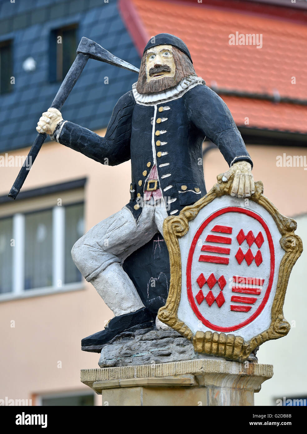Gerbstedt, Germany. 25th Apr, 2016. 'Kamerad Martin', symbol for the mining workes in the region, standing - Stock Image