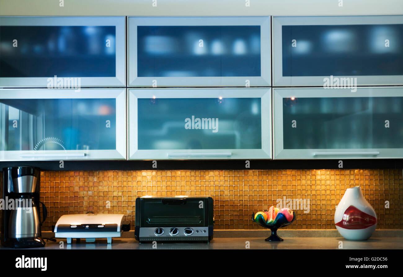 Blue Glass Kitchen Cabinets Stock Photo: 104786450 - Alamy