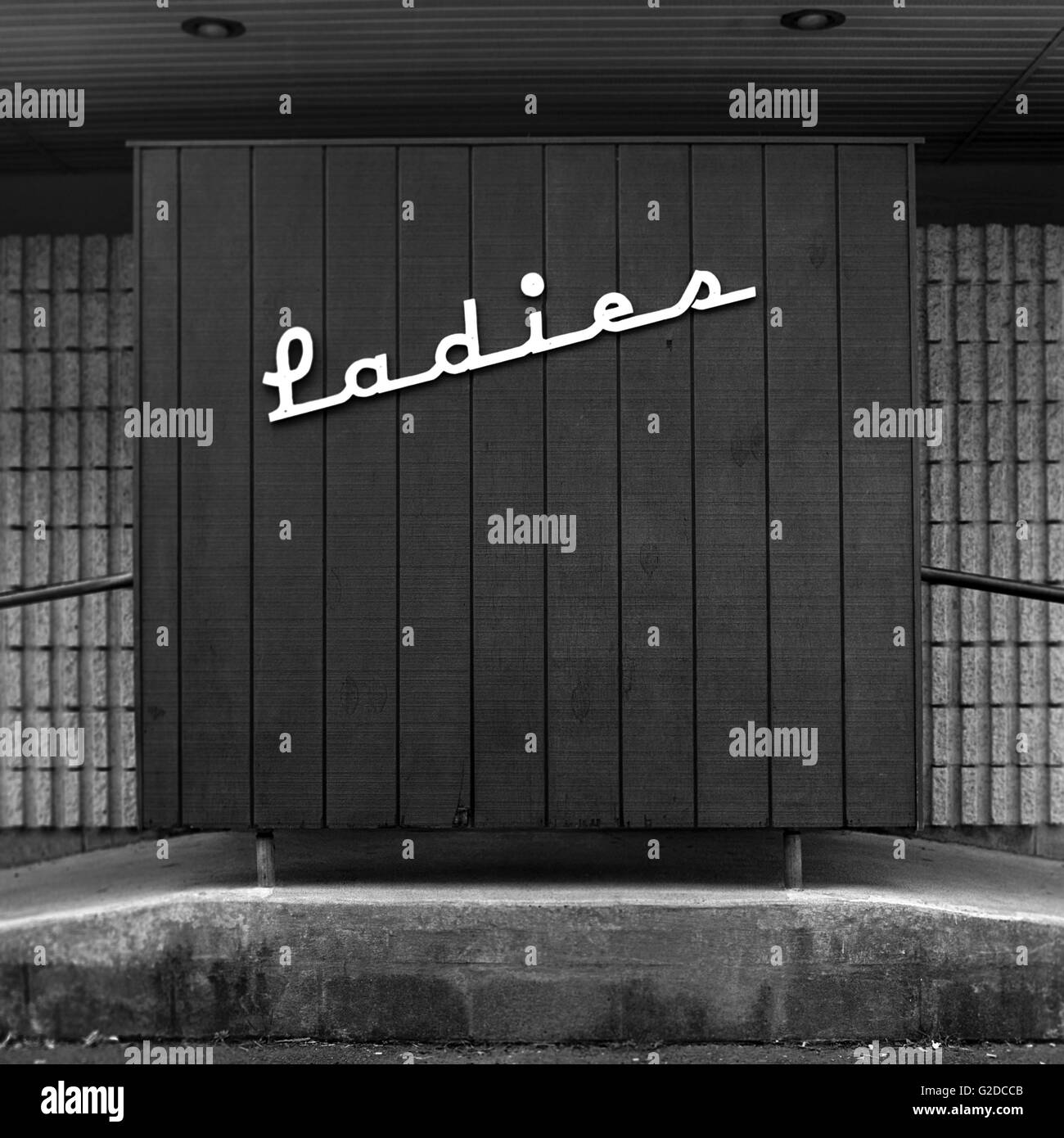 Stylish Ladies Restroom Sign - Stock Image