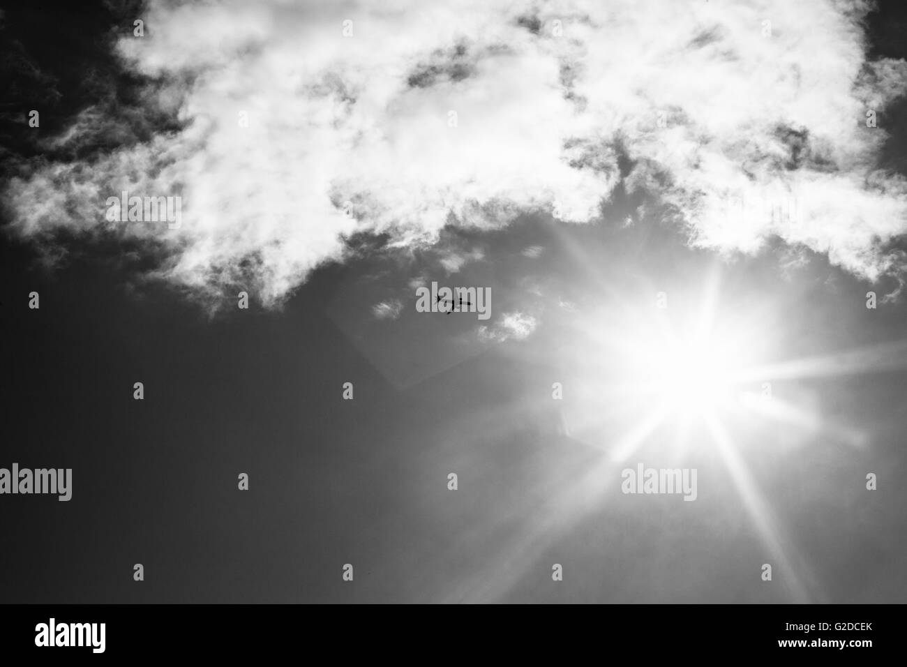 Airplane Flying Towards Sun, Low Angle View - Stock Image