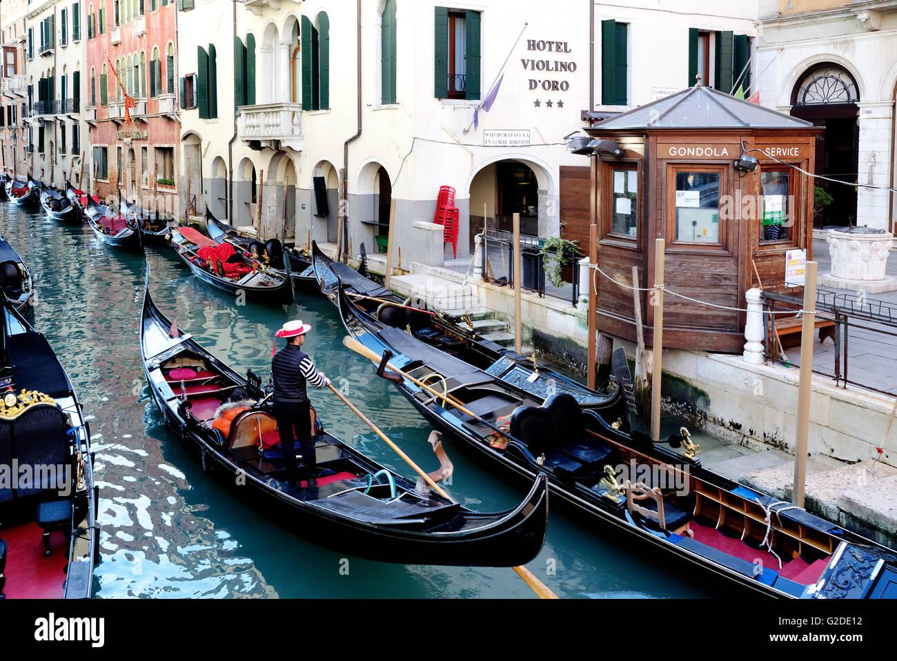 Gondolas in Venice, Veneto, Italy - Stock Image