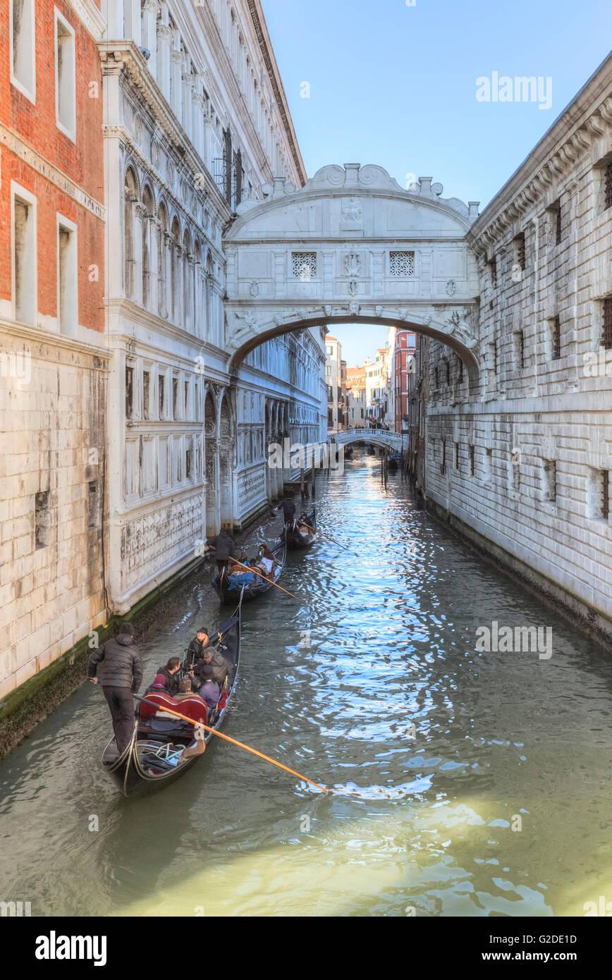 Bridge of Sighs, Venice, Veneto, Italy - Stock Image