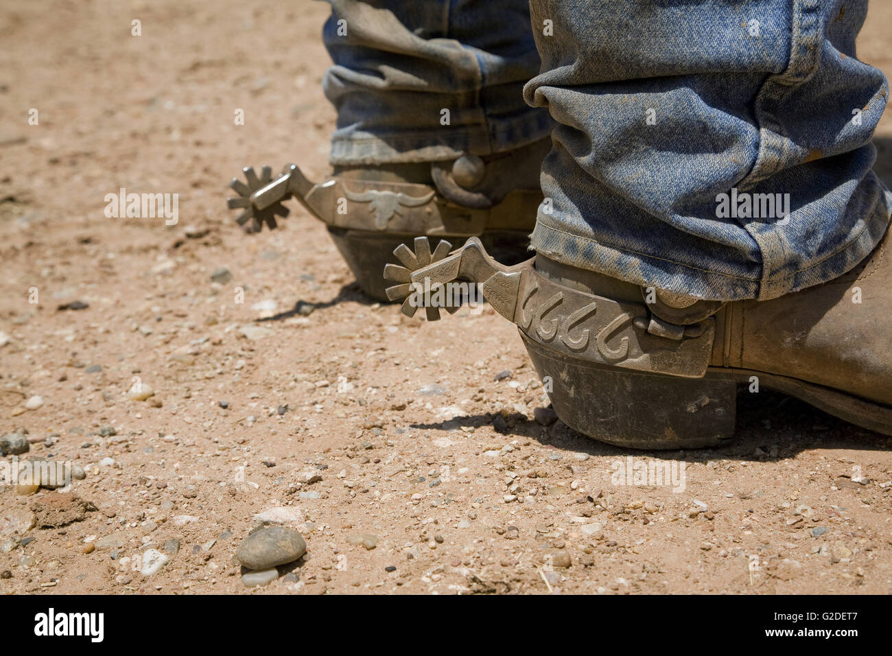 Cowboys Boots and Spurs, Close-Up, Texas, USA - Stock Image