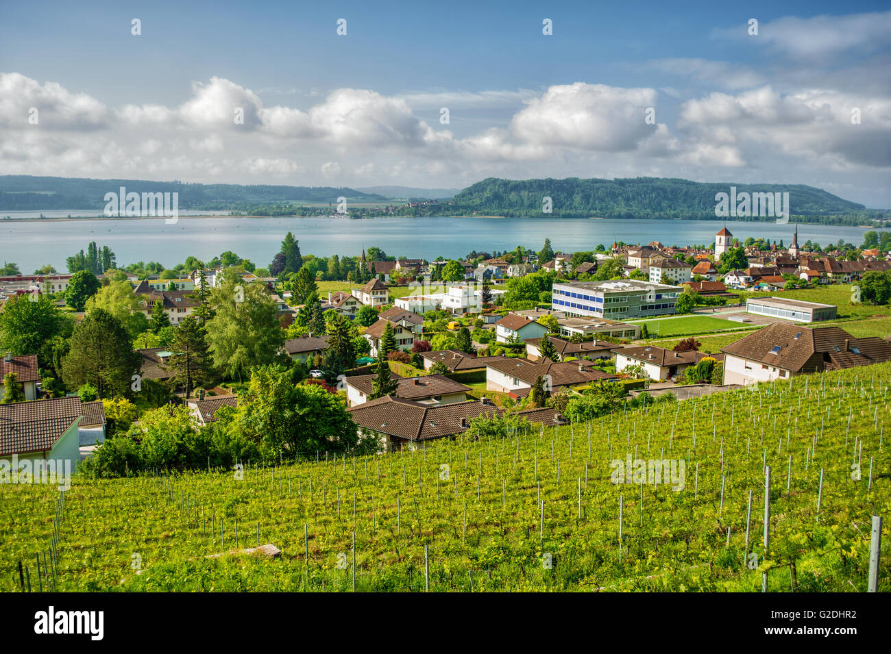 May 2016, the village La Neuveville (Switzerland) in front of the Lake Biel, HDR-technique - Stock Image