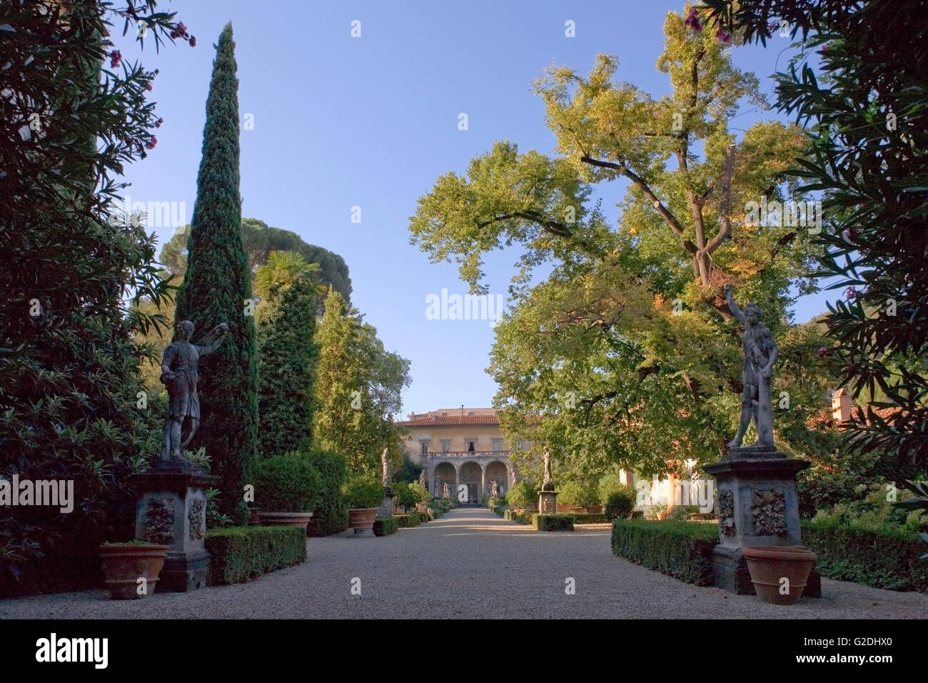Giardino Corsini al Prato, Florence, Italy: view of the palace down the main path: trees and statuary in the garden Stock Photo