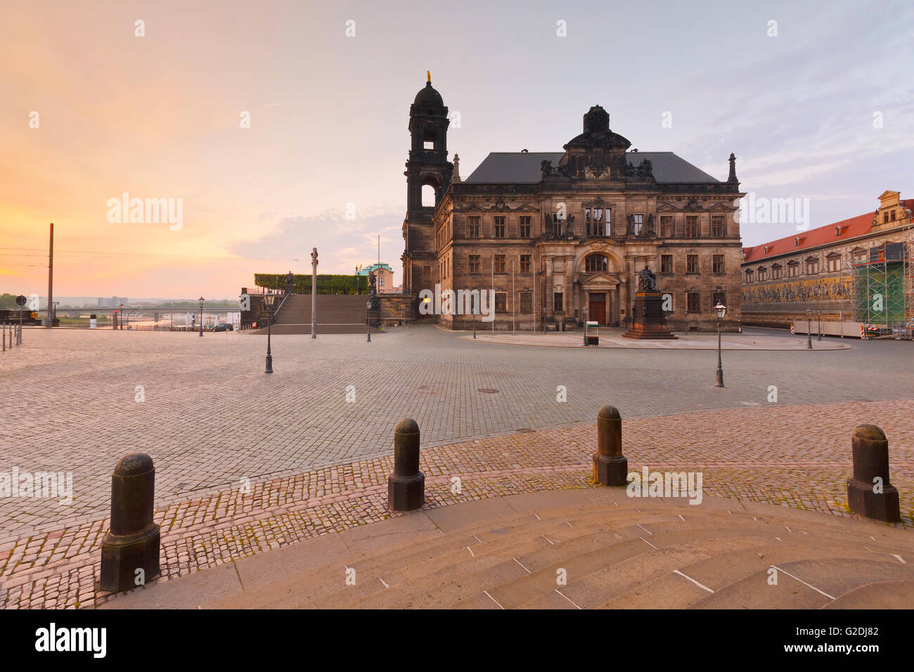 View of the higher regional court in the old town of Dresden, Germany. - Stock Image