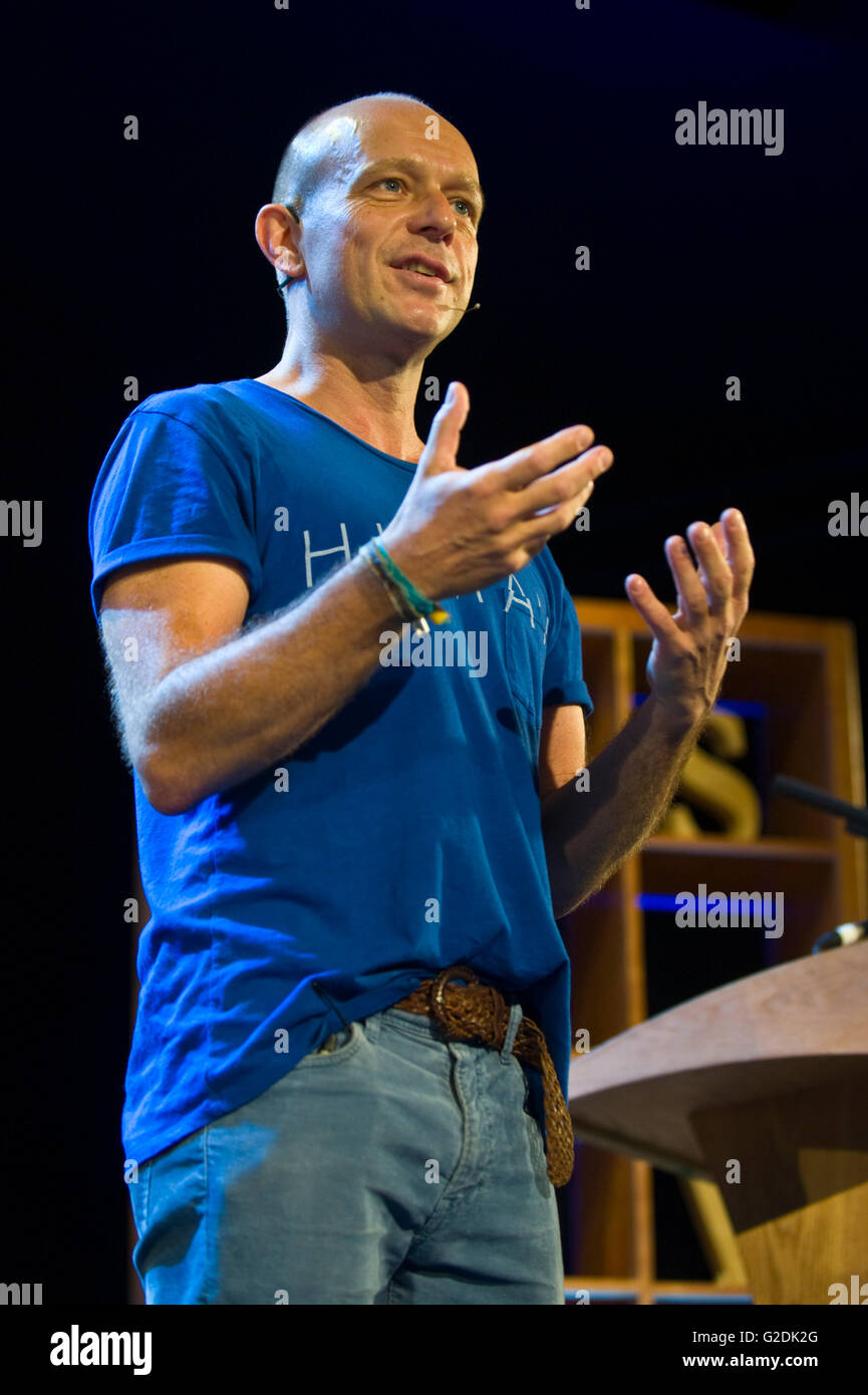 Steve Hilton academic & former political adviser speaking on stage at Hay Festival 2016. - Stock Image