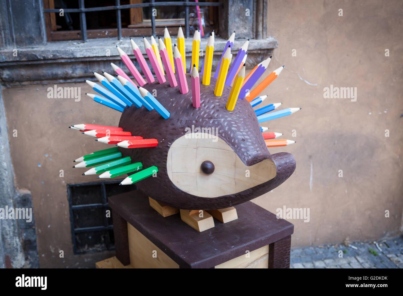 Koh-I-Noor Large Hedgehog Pencil Holder in Prague, Czech Republic - Stock Image