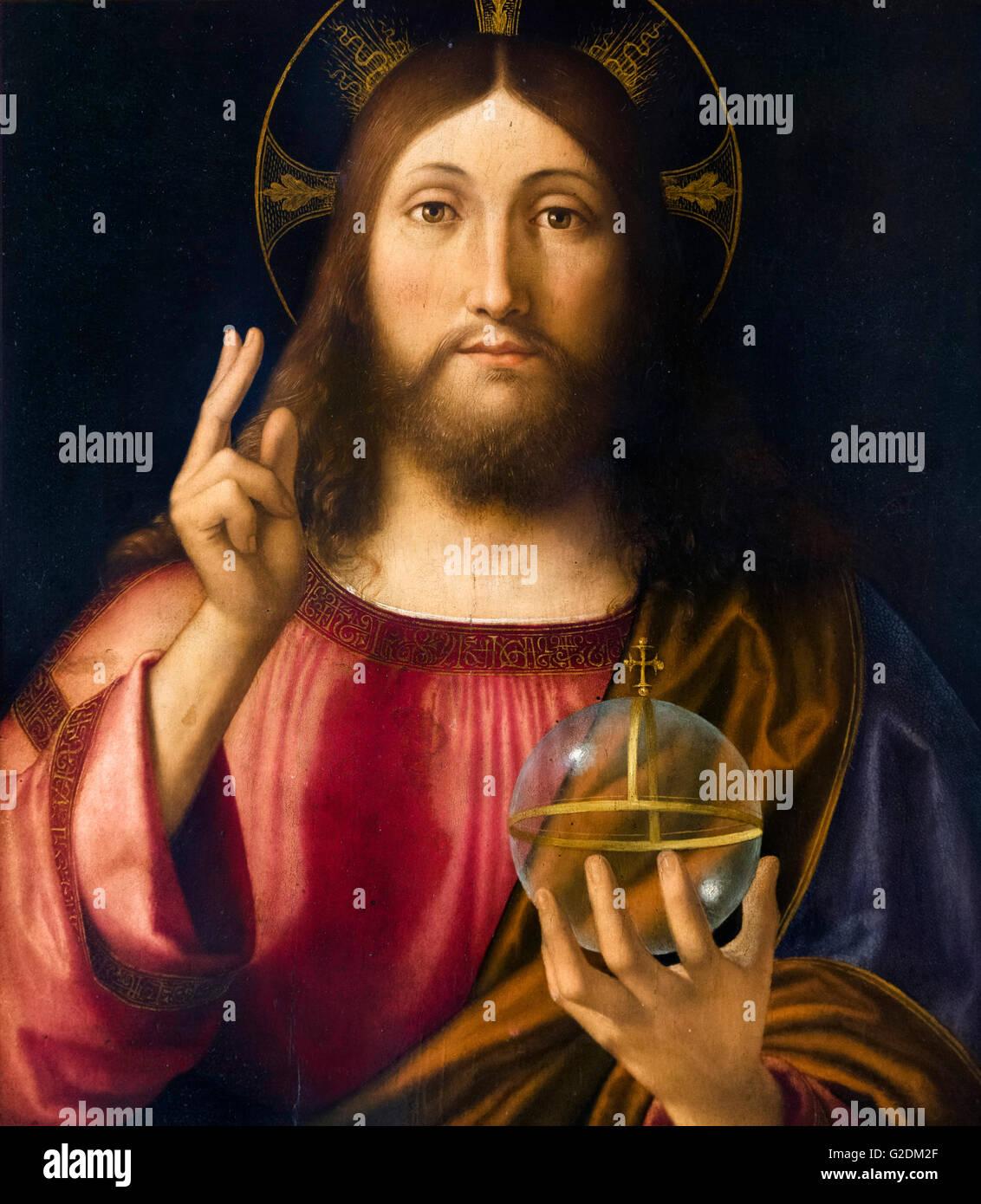 Salvator Mundi By Andrea Previtali Oil On Poplar 1519 The