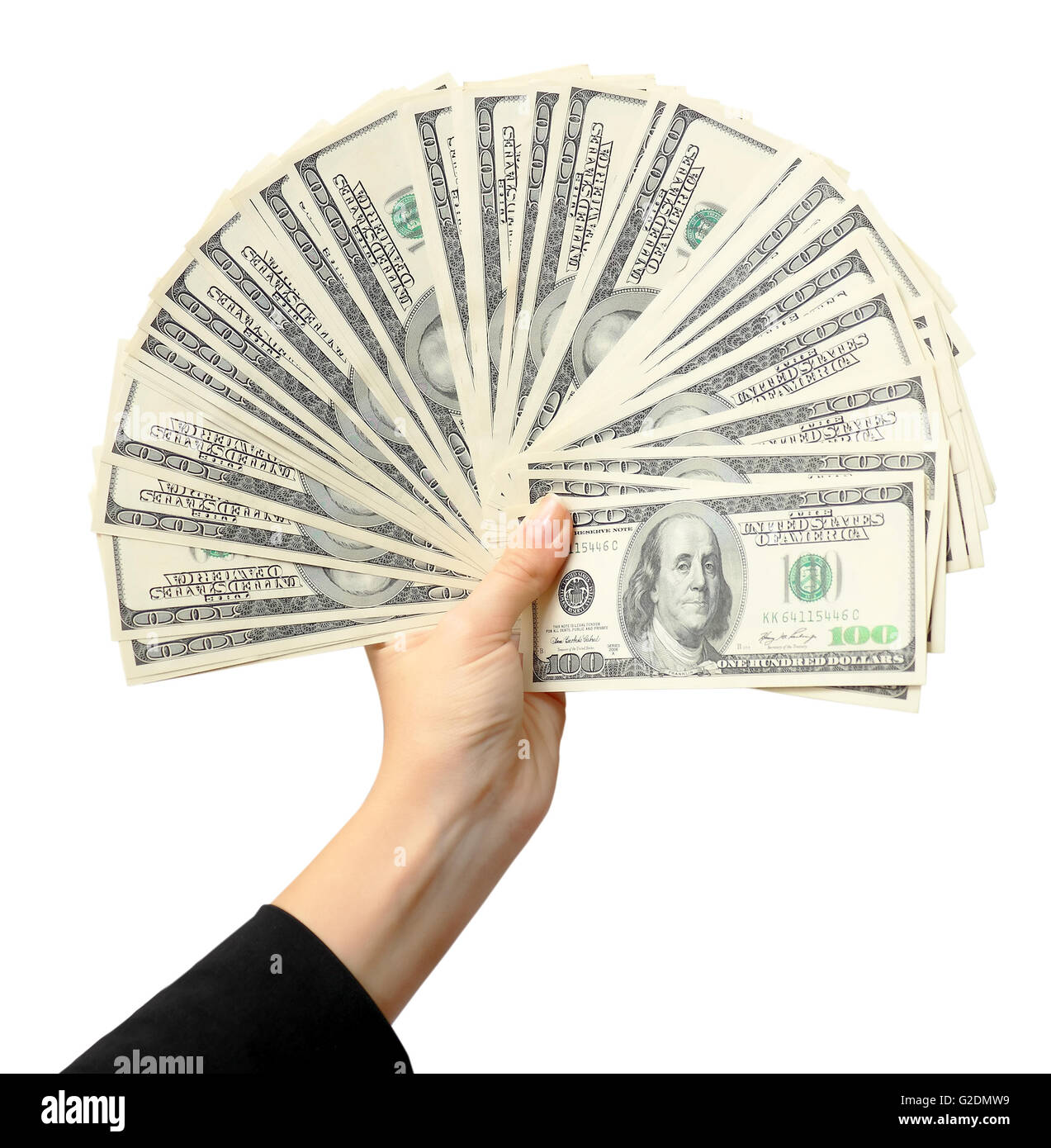 Fan of dollars in a female hand, white background - Stock Image