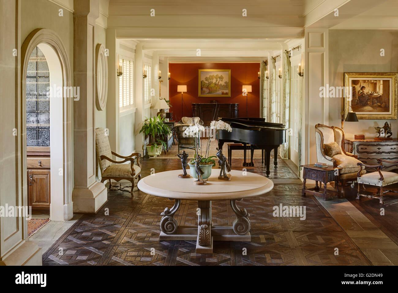 Foyer and Hallway of Affluent House - Stock Image
