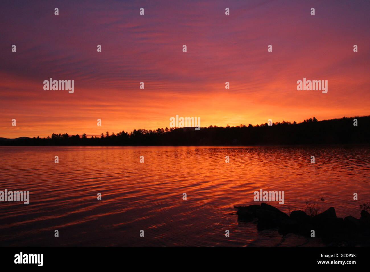 Sunrise over Lake Sacandaga, Adirondack Mountains, New York, United States - Stock Image