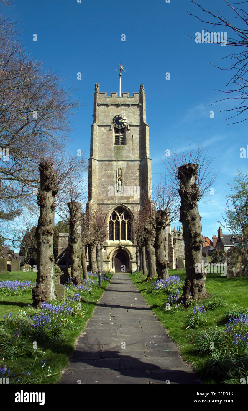 WILTSHIRE; HIGHWORTH; ST.MICHAEL AND ALL ANGELS CHURCH TOWER - Stock Image
