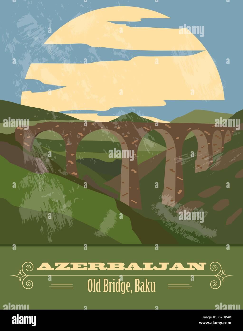 Azerbaijan landmarks. Retro styled image. Vector illustration - Stock Vector