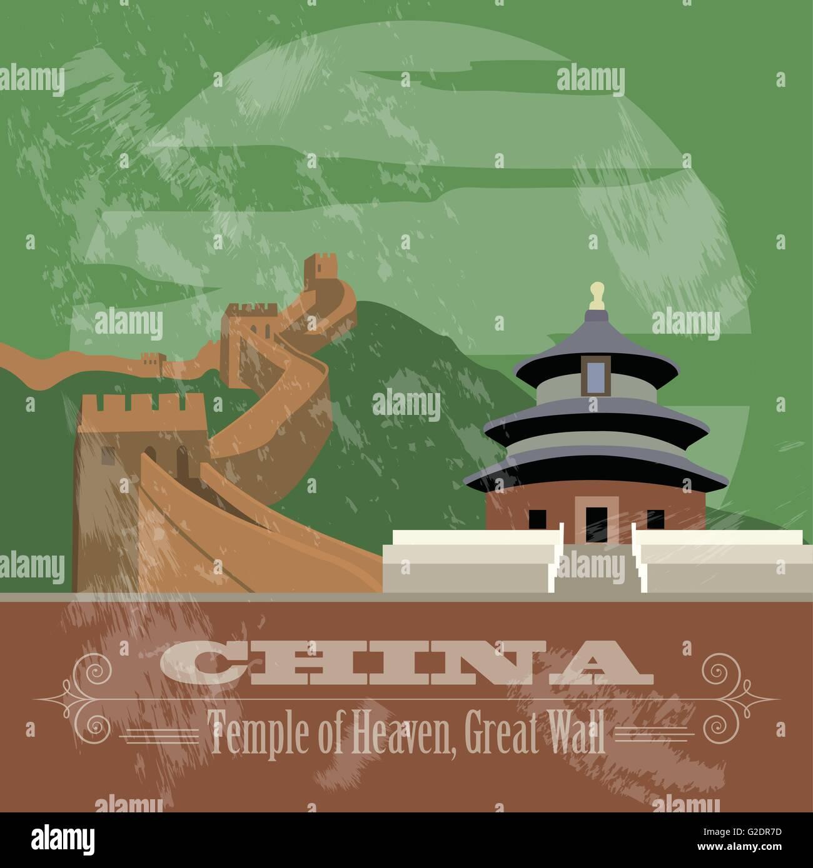 China landmarks. Retro styled image. Vector illustration - Stock Image